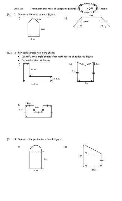 Area Of Composite Figures Worksheet Perimeter and area Of Posite Figures Worksheet 2011