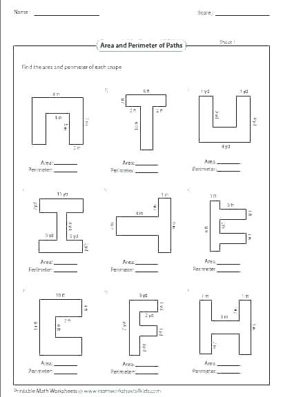 Area Of Composite Figures Worksheet Perimeter and area Worksheets for 4th Grade – Keepyourheadup