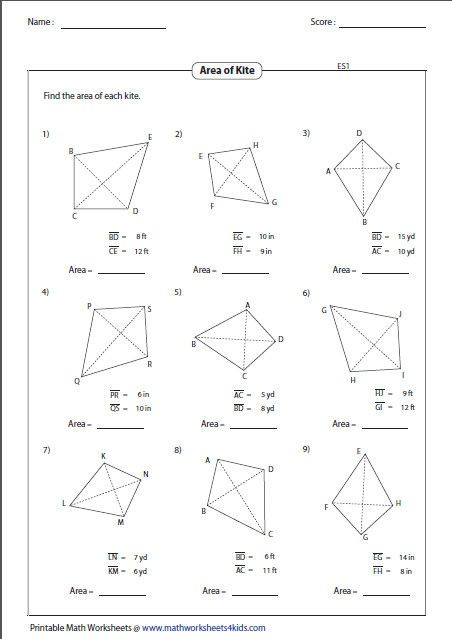 Area Of Triangles Worksheet Pdf Find the area Of Each Kite Geometry Worksheets