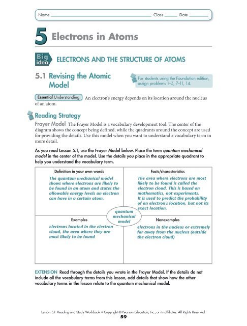 Atomic Structure Practice Worksheet Answers Electrons and the Structure Of atoms Lake Central High School