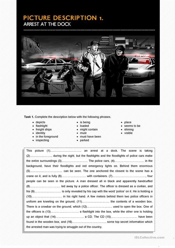 Automotive Worksheets for Highschool Students Arrest at the Dock Picture Description English Esl