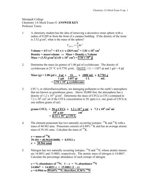 Average atomic Mass Worksheet Answers Moorpark College Chemistry 1a Mock Exam 1 Answer Key