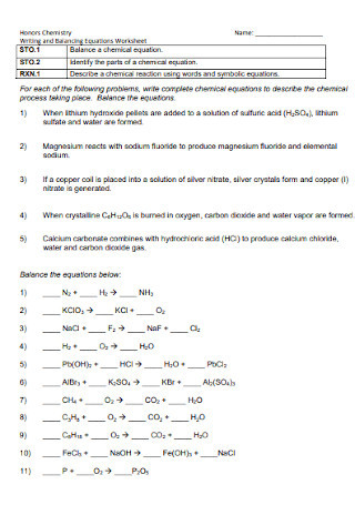 Balancing Chemical Equations Worksheet 1 19 Sample Balancing Chemical Equations Worksheets In Pdf