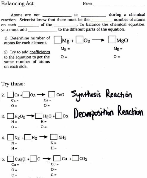 Balancing Chemical Equations Worksheet 1 Balanced Chemical Equations Worksheet