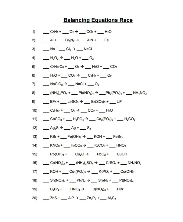 Balancing Chemical Equations Worksheet 1 Balancing Chemical Equations Lessons Tes Teach