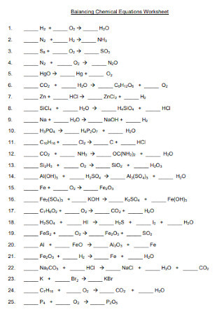Balancing Equations Worksheet Answers Chemistry 19 Sample Balancing Chemical Equations Worksheets In Pdf