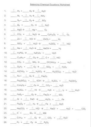 Balancing Equations Worksheet Answers Chemistry Balancing Chemical Equations software