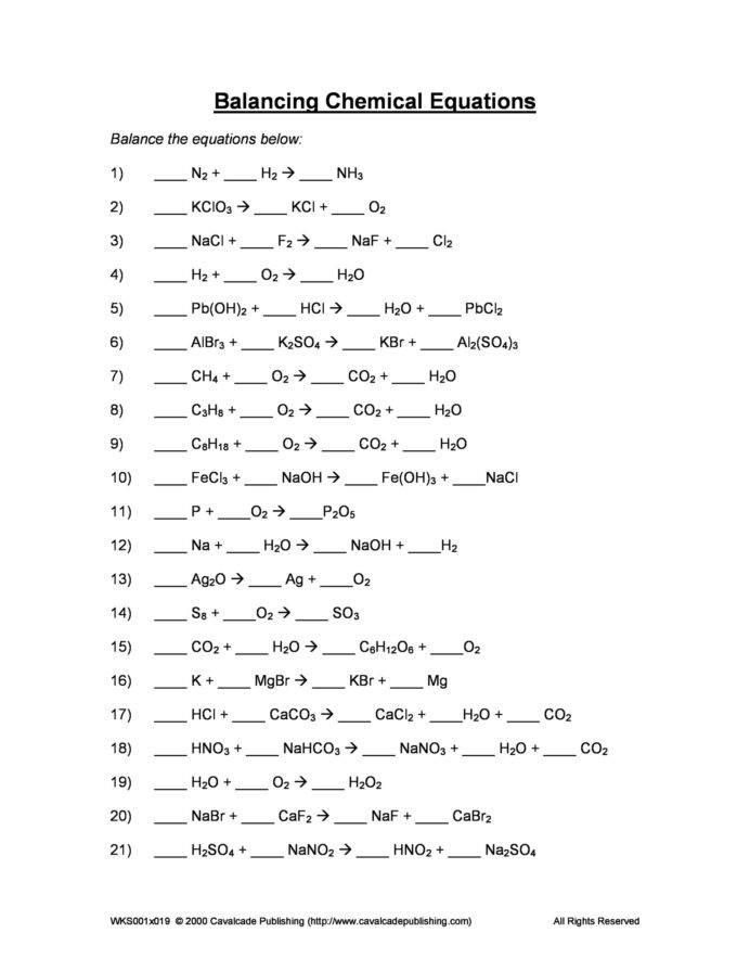 Balancing Equations Worksheet Answers Chemistry Balancing Chemical Equations Worksheets with Answers General