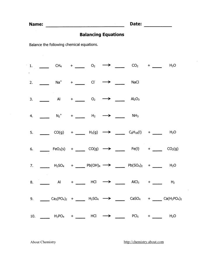 Balancing Equations Worksheet Answers Chemistry Balancing Chemical Equations Worksheets with Answers