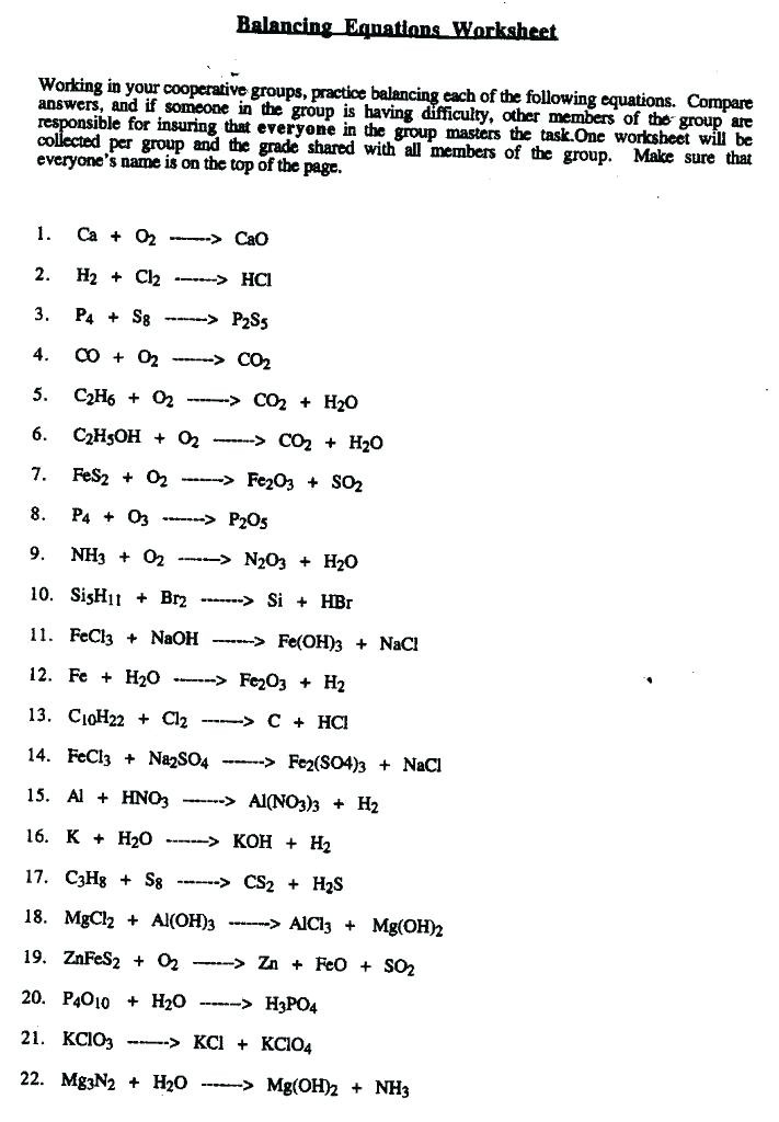 Balancing Equations Worksheet Answers Chemistry Balancing Equations Worksheet Moercar