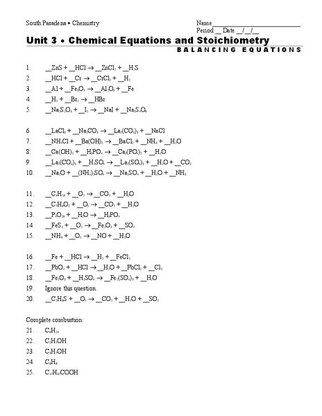 Balancing Equations Worksheet Answers Chemistry Chemical Equations and Stoichiometry Worksheet for 9th