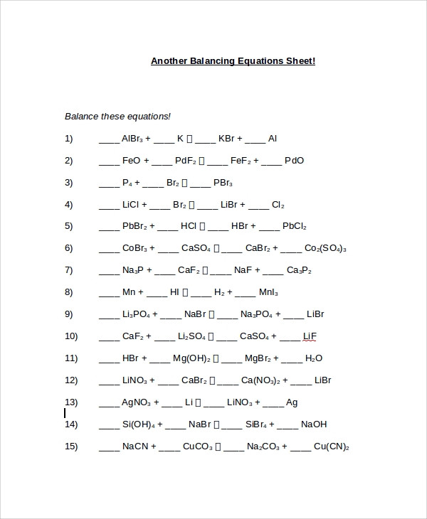 Balancing Equations Worksheet Answers Chemistry Free 9 Sample Balancing Equations Worksheet Templates In