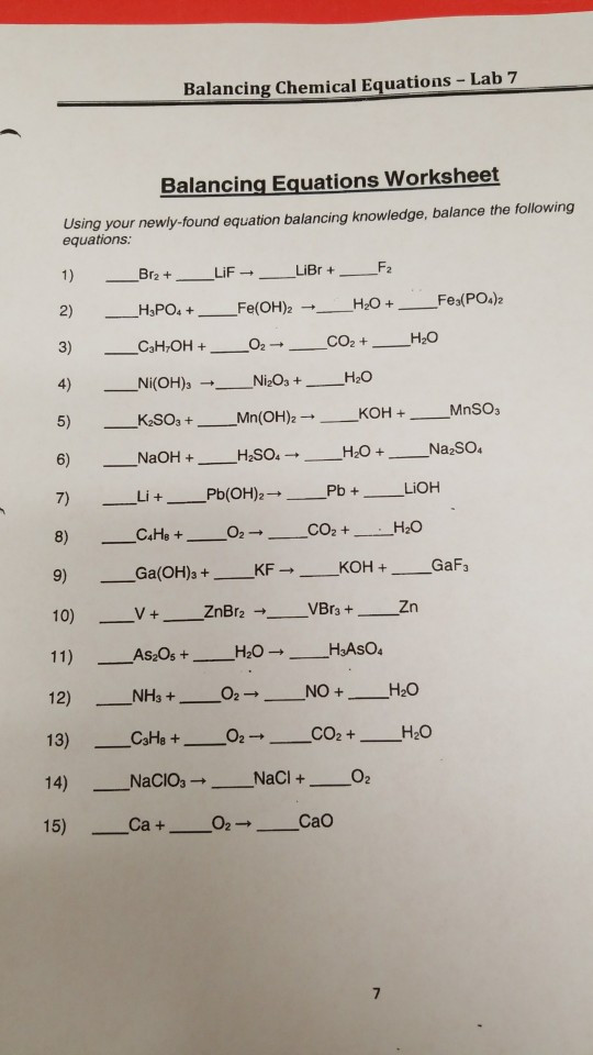 Balancing Equations Worksheet Answers Chemistry solved Balancing Chemical Equations Lab 7 Balancing Equ