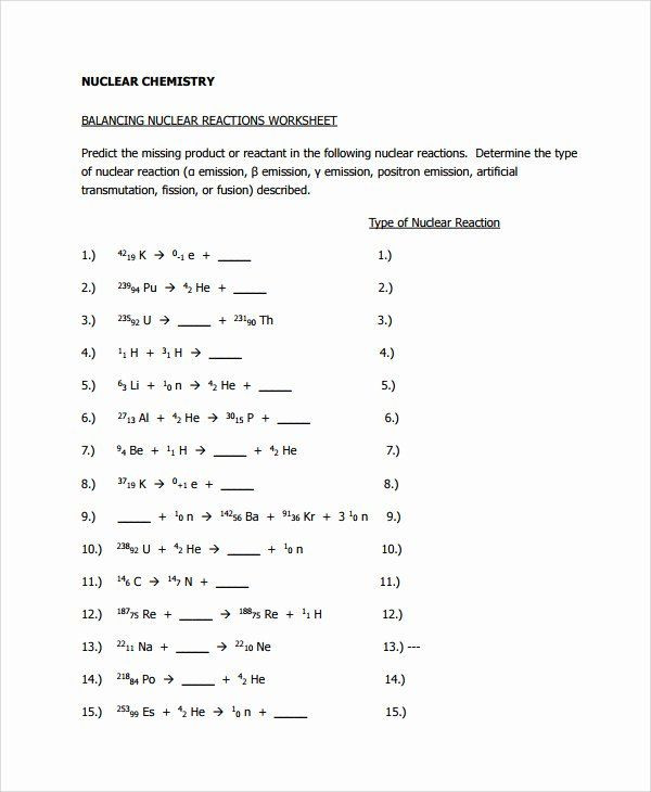 Balancing Nuclear Equations Worksheet 50 Nuclear Reactions Worksheet Answers In 2020