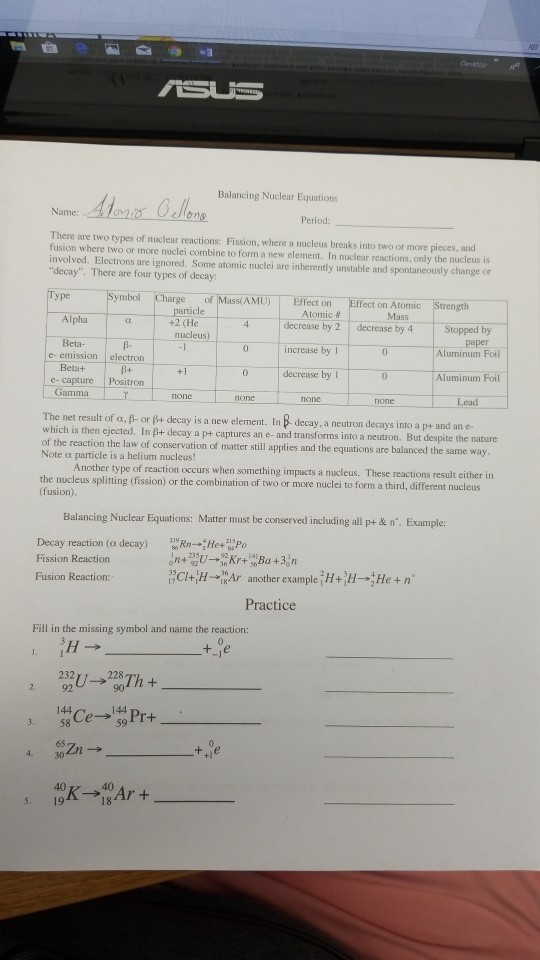 Balancing Nuclear Equations Worksheet solved Balancing Nuclear Equations there are Two Types