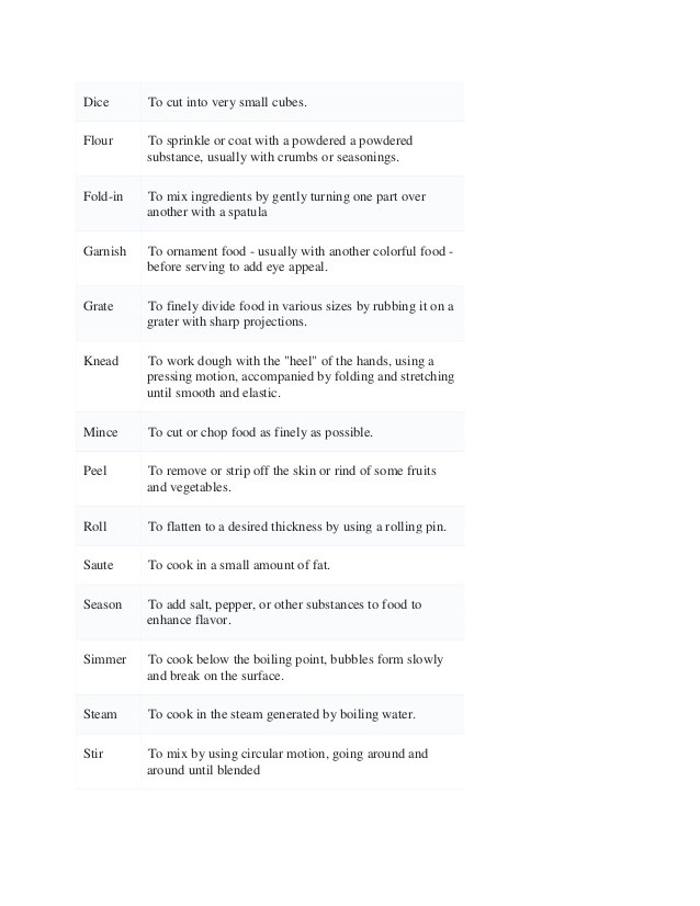 Basic Cooking Terms Worksheet Basic Cooking Terms
