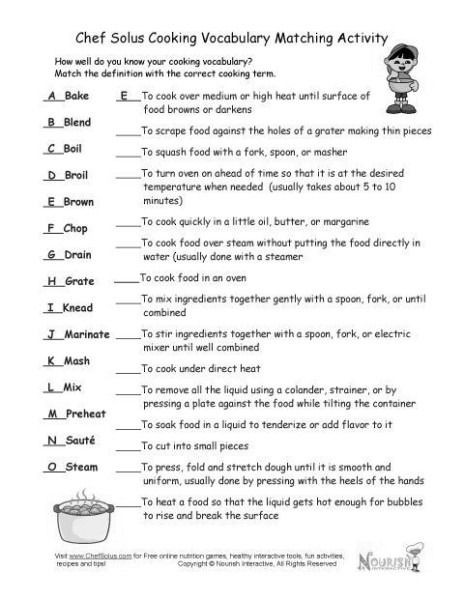 Basic Cooking Terms Worksheet Basic Cooking Terms Worksheets