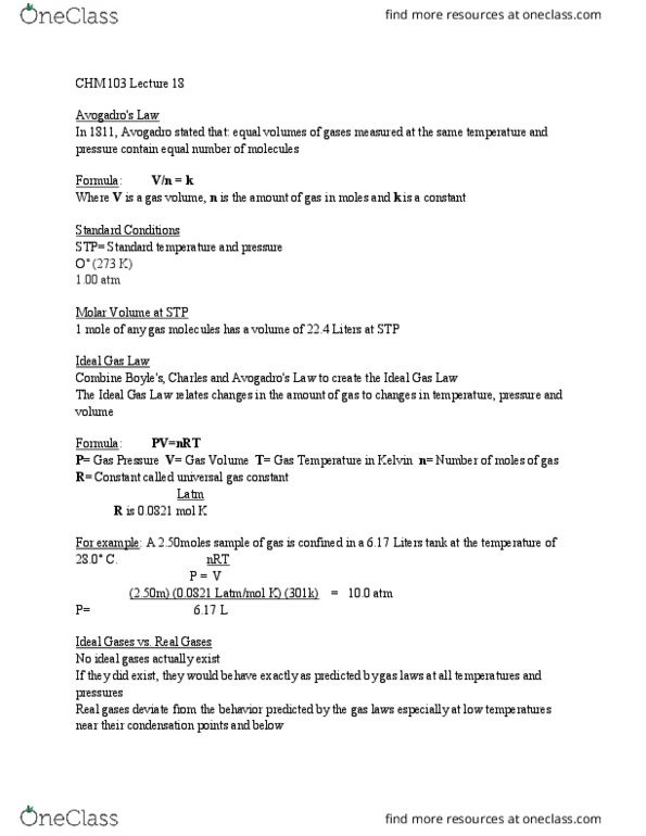 Behavior Of Gases Worksheet Chm 103 Lecture Notes Fall 2016 Lecture 18 Ideal Gas