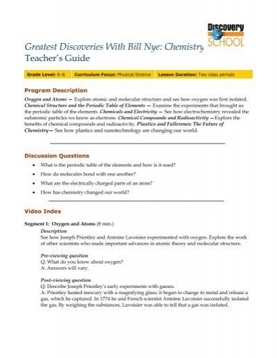 Bill Nye Electricity Worksheet Greatest Discoveries with Bill Nye Chemistry Free Teacher