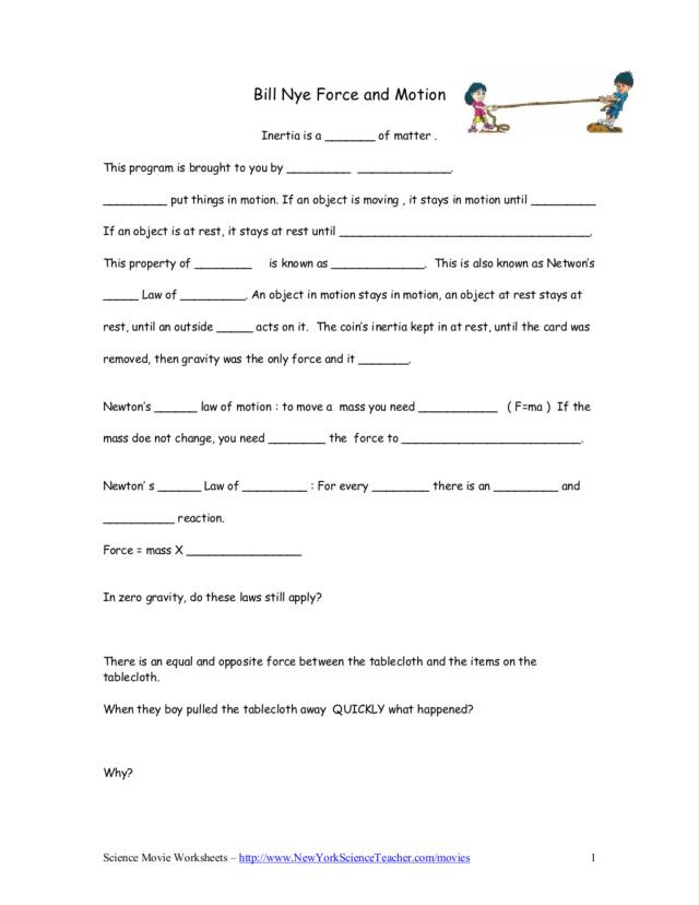 Bill Nye Simple Machines Worksheet Bill Nye force and Motion Worksheet for 5th 9th Grade