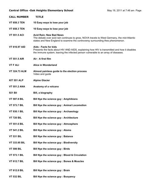 Bill Nye Simple Machines Worksheet Instructional Media Center Video Library List Sweet Home