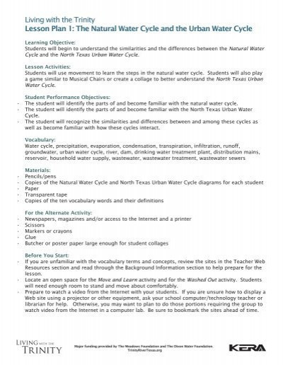 Bill Nye Water Cycle Worksheet Living with the Trinity Lesson Plan 1 the Natural Water