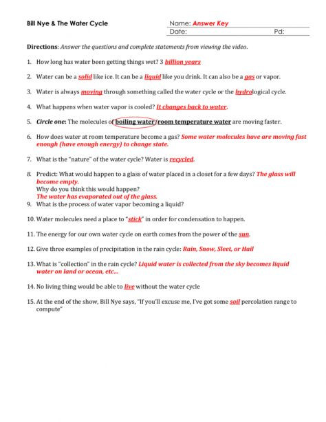 Bill Nye Water Cycle Worksheet Science Court Water Cycle Worksheet and Bill Nye Water Cycle