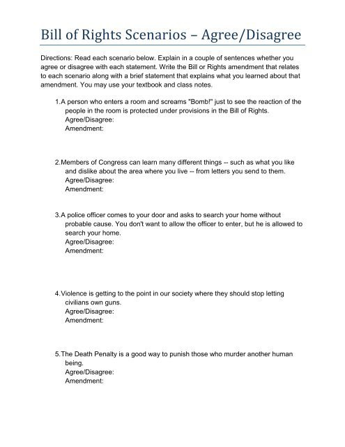 "Bill Of Rights Scenarios Worksheet Bill Of Rights Scenarios ¢€"" Agree Disagree"