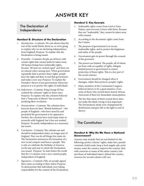 Bill Of Rights Worksheet Answers Answer Key Bill Of Rights Institute
