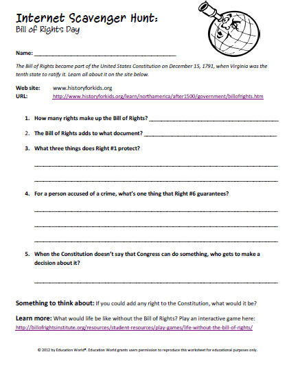 Bill Of Rights Worksheet Answers Internet Scavenger Hunt the Bill Of Rights