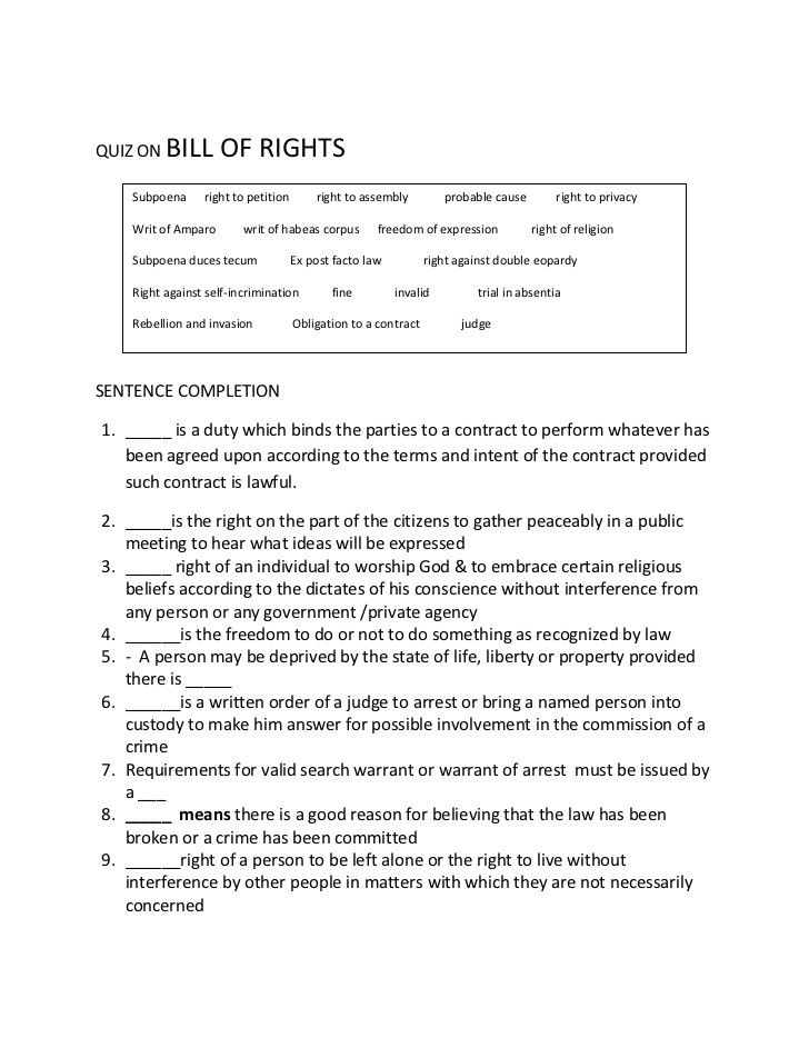 Bill Of Rights Worksheet Answers Quiz On Bill Of Rights