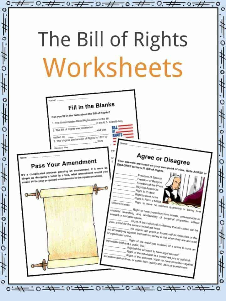 Bill Of Rights Worksheet Answers the United States Bill Of Rights Facts & Worksheets for Kids