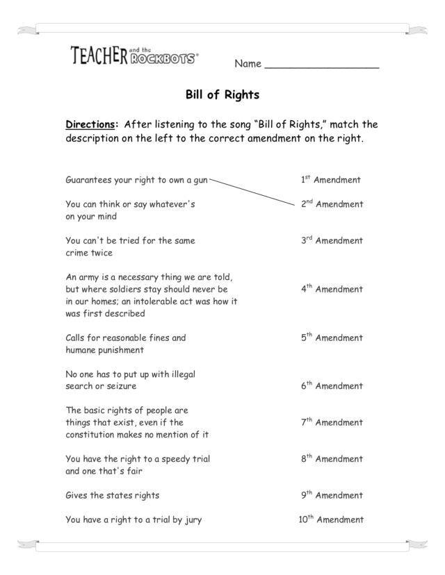 Bill Of Rights Worksheet Answers Worksheets English Bill Rights Math Practice solved