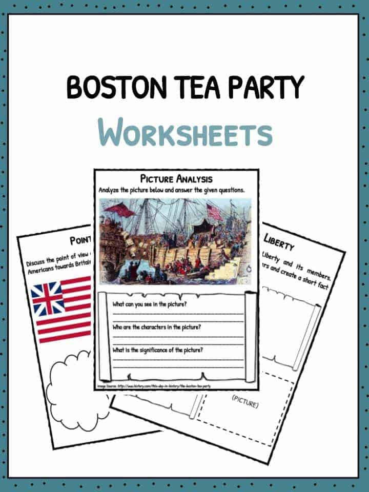 Boston Tea Party Worksheet Boston Tea Party Facts Information & Worksheets for Kids