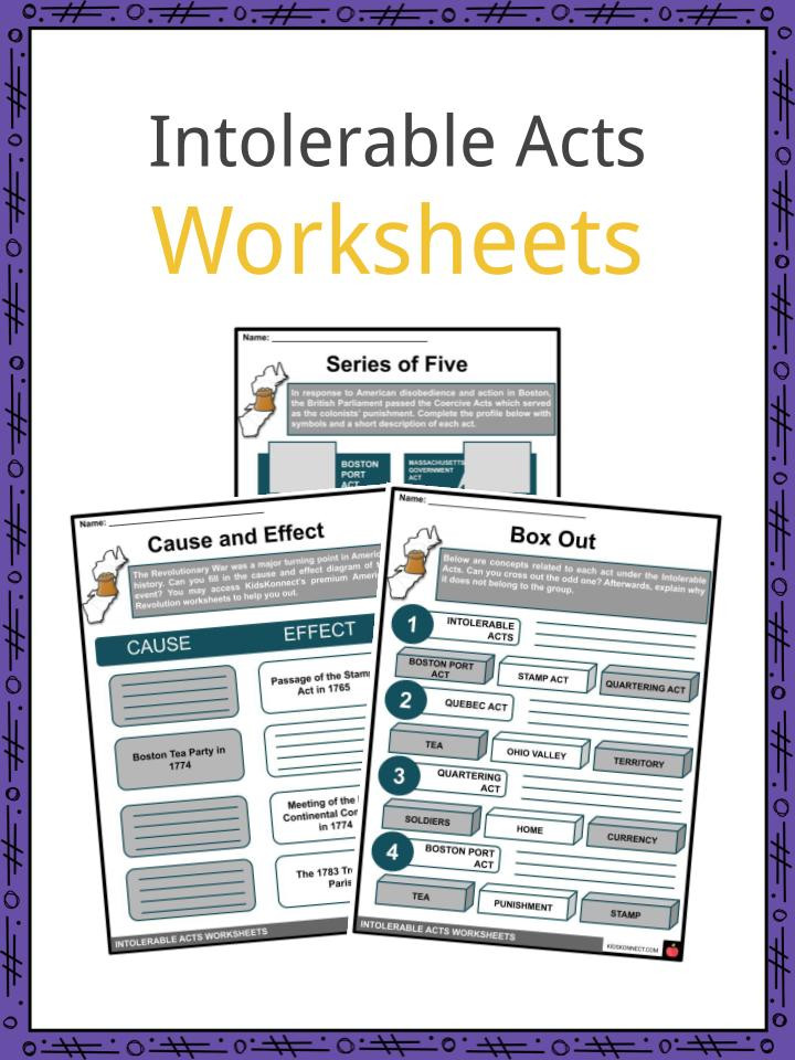 Boston Tea Party Worksheet Intolerable Acts Worksheets Facts & Definition for Kids