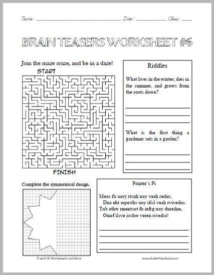 Brain Teaser Worksheets Middle School Brain Teasers Worksheet 6 Here is A Fun Handout Full Of