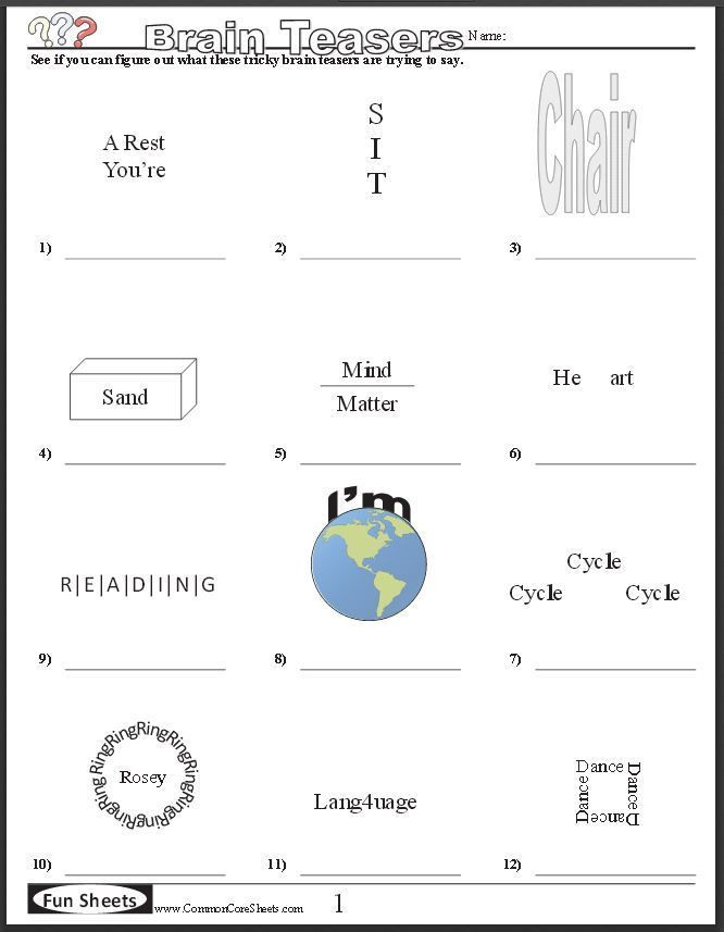 Brain Teaser Worksheets Middle School Pin by Darlene tom On Classroom