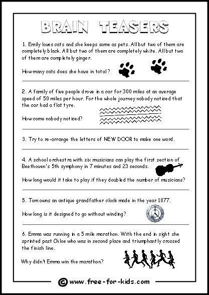 Brain Teaser Worksheets Middle School Thumbnail Image Brain Teaser Questions