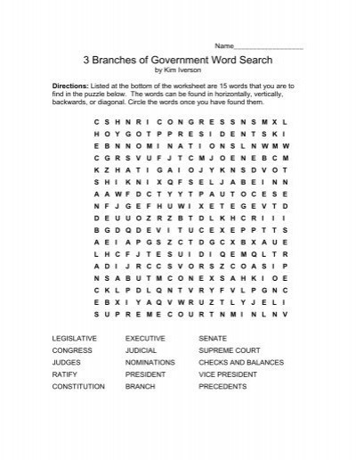 Branches Of Government Worksheet 3 Branches Of Government Word Search