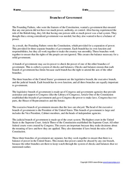Branches Of Government Worksheet Branches Of Government Worksheet for 5th 8th Grade