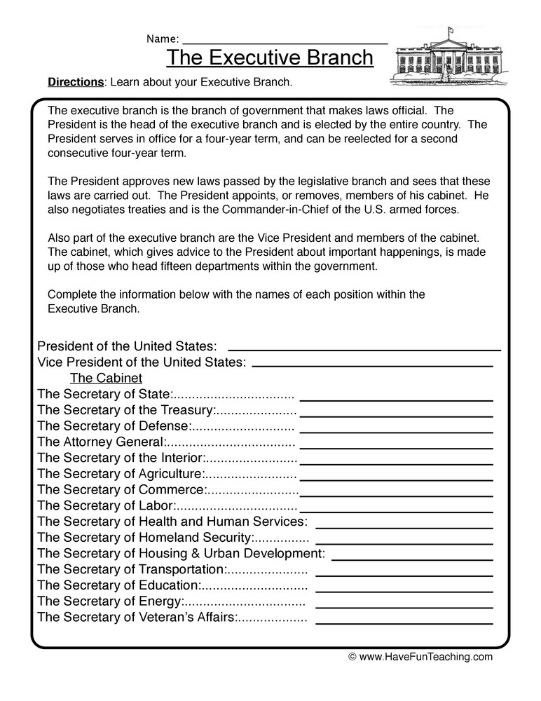 Branches Of Government Worksheet Executive Branch Worksheet