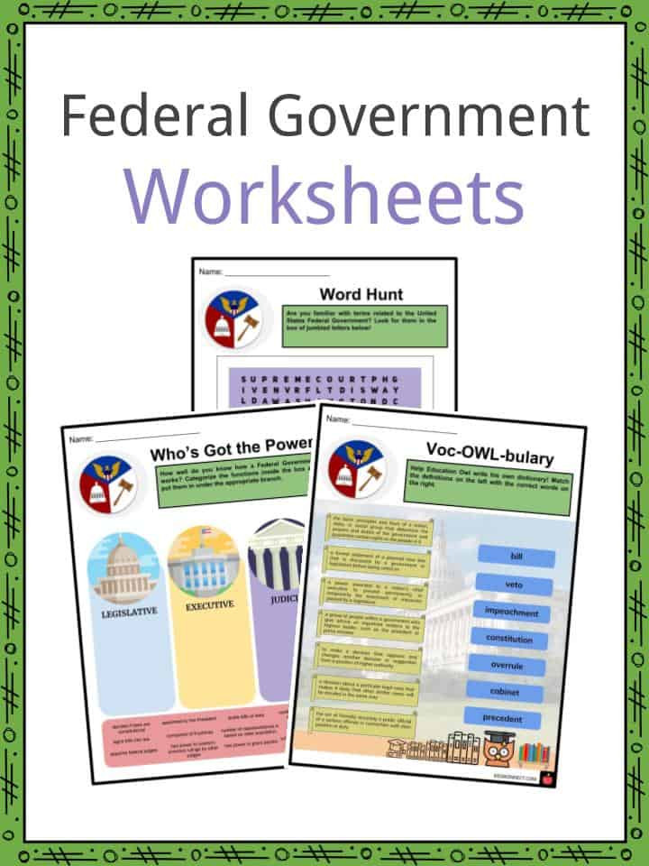 Branches Of Government Worksheet Federal Government Facts Worksheets Structure