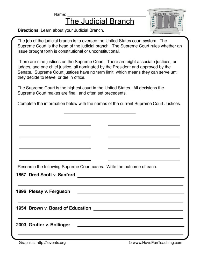 Branches Of Government Worksheet Judicial Branch Worksheet