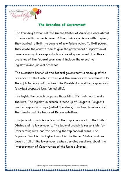Branches Of Government Worksheet Prehensions for Grade 3 Ages 7 9 Worksheets Passage