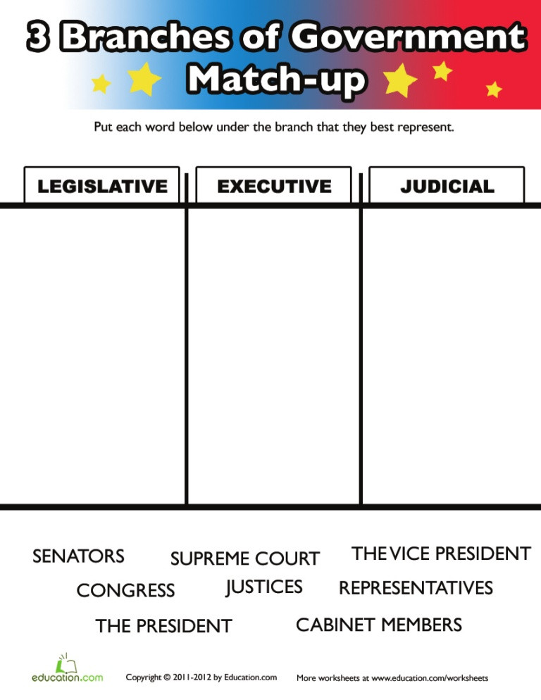 Branches Of Government Worksheet Three Branches Government Kids