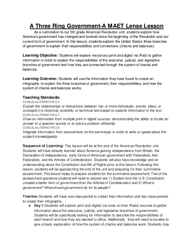 Branches Of Government Worksheet Three Ring Government Lesson Plan