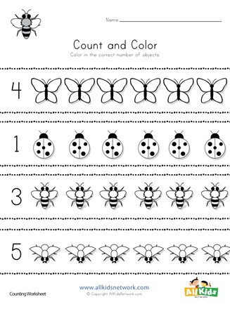 Bug Worksheets for Preschool Bug Count and Color Worksheet