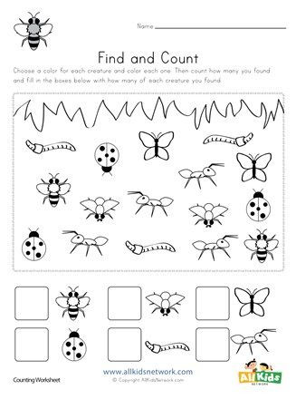 Bug Worksheets for Preschool Bug Find and Count Worksheets All Kids Network