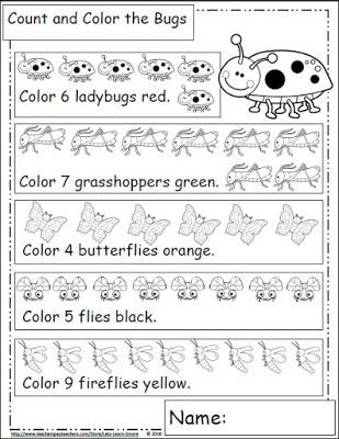 Bug Worksheets for Preschool Bugs and Insects