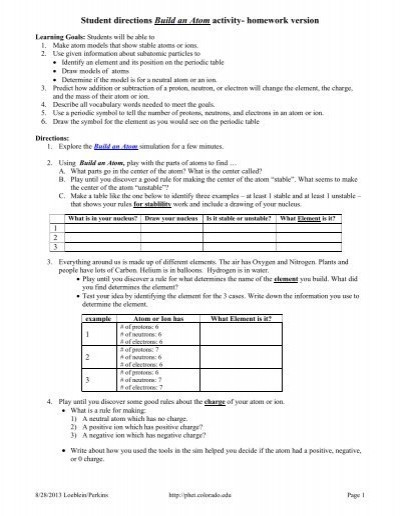 Build An atom Worksheet Answers Building An atom Worksheet Answers Promotiontablecovers